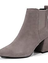 baratos -Mulheres Sapatos Confortáveis Camurça Primavera Verão Botas Salto Robusto Preto / Khaki