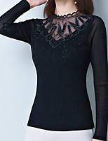 baratos -Mulheres Blusa Básico Com Transparência / Guarnição do laço, Sólido