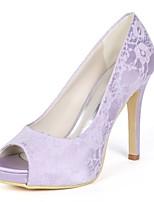 baratos -Mulheres Stiletto Renda Primavera Verão Doce Sapatos De Casamento Salto Agulha Peep Toe Verde / Azul / Ivory / Festas & Noite