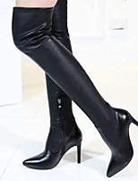 Недорогие -Жен. Fashion Boots Наппа Leather / Синтетика Зима Ботинки На шпильке Сапоги выше колена Черный