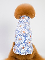 cheap -Dogs / Cats Pajamas Dog Clothes Geometric / Flower Blue / Pink 100% Coral Fleece Costume For Pets Male Flower Style / Casual / Daily