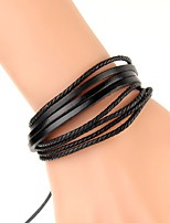 cheap -Men's Braided Leather Bracelet / Bracelet - Leather Creative Simple, Fashion Bracelet Black / Rainbow / Brown For Daily / Birthday