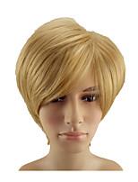 Недорогие -Парики из искусственных волос Прямой Блондинка Стрижка под мальчика Искусственные волосы 10 дюймовый Мягкость / Жаропрочная / синтетический Блондинка Парик Муж. Короткие Без шапочки-основы