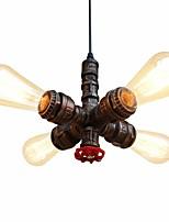 abordables -loft vintage industriel tuyau suspendu lumières créatives lumières restaurant café bar lustre 4 lumière peint finition