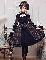 economico -Gotico Classico Elegante Per femmina Vestiti Cosplay Nero / Marrone Manica Flare Manica a 3/4 Midi Costumi Halloween