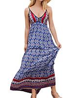 baratos -Mulheres Básico balanço Vestido Geométrica Longo