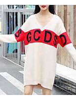 Недорогие -Жен. На выход Тонкие Оболочка / Трикотаж Платье V-образный вырез Средней длины