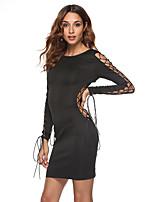 Недорогие -Жен. Элегантный стиль Облегающий силуэт Платье - Однотонный, Открытая спина / Аппликация Выше колена