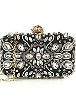 cheap -Women's Bags Polyester / Alloy Evening Bag Beading / Crystals Geometric Pattern Black