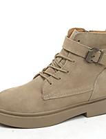 Недорогие -Жен. Армейские ботинки Полиуретан Осень Ботинки На низком каблуке Круглый носок Ботинки Черный / Хаки