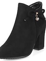 Недорогие -Жен. Fashion Boots Замша Зима Ботинки На толстом каблуке Закрытый мыс Ботинки Черный / Темно-синий / Красный