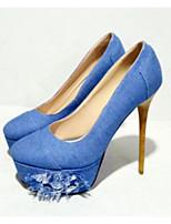 Недорогие -Жен. Балетки Деним Лето Обувь на каблуках На шпильке Синий