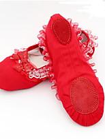 abordables -Femme Chaussures de Ballet Daim / Toile Basket Talon épais Chaussures de danse Noir / Rouge