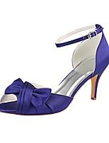 baratos -Mulheres Stiletto Cetim Verão Sapatos De Casamento Salto Agulha Peep Toe Flor de Cetim / Presilha Roxo / Festas & Noite
