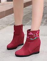 Недорогие -Жен. Fashion Boots Замша / Наппа Leather Зима Ботинки Туфли на танкетке Закрытый мыс Ботинки Черный / Винный