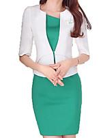 baratos -Mulheres Trabalho Básico Delgado Longo Conjunto Sólido Vestidos