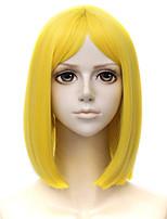 Недорогие -Косплэй парики / Парики из искусственных волос Прямой Блондинка Стрижка каскад Искусственные волосы 14 дюймовый Косплей Блондинка Парик Муж. Короткие Без шапочки-основы Желтый