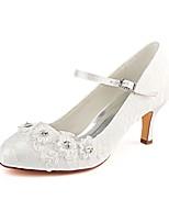 baratos -Mulheres Stiletto Cetim Outono Sapatos De Casamento Salto Agulha Ponta Redonda Cristais / Gliter com Brilho Ivory / Festas & Noite