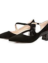 Недорогие -Жен. Комфортная обувь Замша Лето Обувь на каблуках На толстом каблуке Черный / Розовый