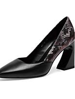 Недорогие -Жен. Балетки Наппа Leather Лето Обувь на каблуках На толстом каблуке Черный / Бежевый