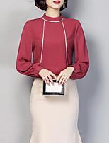 Недорогие -Жен. На выход Блуза Вырез под горло Тонкие Контрастных цветов