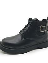 Недорогие -Жен. Fashion Boots Полиуретан Осень На каждый день Ботинки На низком каблуке Круглый носок Ботинки Черный