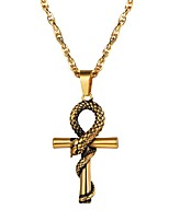 Недорогие -Муж. Стильные Ожерелья с подвесками - Нержавеющая сталь Крест Мода Золотой, Черный, Серебряный 55 cm Ожерелье Бижутерия 1шт Назначение Подарок, Повседневные