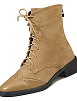 Недорогие -Жен. Армейские ботинки Полиуретан Осень На каждый день Ботинки На толстом каблуке Сапоги до середины икры Черный / Хаки