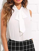baratos -Mulheres Blusa Básico Cordões, Sólido