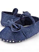 Недорогие -Девочки Обувь Деним Весна & осень Обувь для малышей На плокой подошве Бант для Дети Синий