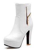 Недорогие -Жен. Комфортная обувь Полиуретан Зима Ботинки На толстом каблуке Белый / Черный / Красный