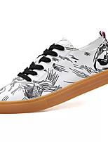 Недорогие -Муж. Комфортная обувь Полиуретан Осень Винтаж Кеды Дышащий Контрастных цветов Черно-белый / Белый / синий