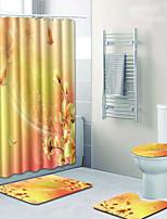 Недорогие -3 предмета На каждый день / Деревенский Коврики для ванны 100 г / м2 полиэфирный стреч-трикотаж Цветочный принт нерегулярный Креатив
