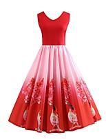 baratos -Mulheres Moda de Rua balanço Vestido - Estampado, Estampado Cashemere Altura dos Joelhos