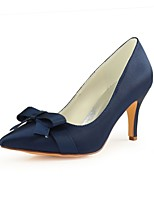 abordables -Femme Escarpins Satin Automne Chaussures de mariage Talon Aiguille Bout pointu Noeud Bleu de minuit / Mariage / Soirée & Evénement