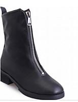 Недорогие -Жен. Комфортная обувь Полиуретан Наступила зима Ботинки На толстом каблуке Сапоги до середины икры Черный
