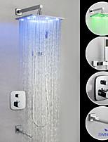abordables -robinet de douche / robinet pour lavabo de salle de bain - robinet à led en laiton chromé mural contemporain