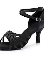 cheap -Women's Latin Shoes Satin Heel Slim High Heel Customizable Dance Shoes Black