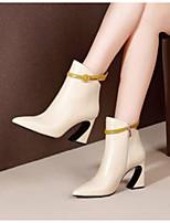 Недорогие -Жен. Fashion Boots Наппа Leather Осень Ботинки На толстом каблуке Закрытый мыс Ботинки Белый
