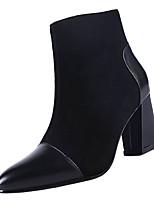 Недорогие -Жен. Fashion Boots Полиуретан Осень Ботинки На толстом каблуке Заостренный носок Черный / Хаки