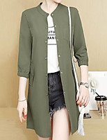 cheap -Women's Street chic Trench Coat - Solid Colored