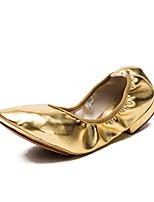 abordables -Femme Chaussures de Ballet / Salon Cuir Basket Talon Plat Chaussures de danse Or / Noir / Argent
