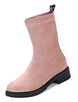 Недорогие -Жен. Fashion Boots Эластичная ткань Осень На каждый день Ботинки На низком каблуке Сапоги до середины икры Черный / Розовый