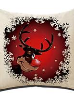 Недорогие -Наволочка Новогодняя тематика Хлопковая ткань Квадратный Мультипликация / Оригинальные Рождественские украшения