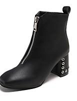 Недорогие -Жен. Fashion Boots Полиуретан Наступила зима Деловые Ботинки На толстом каблуке Квадратный носок Ботинки Заклепки Черный / Бежевый