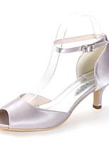 baratos -Mulheres Scarpin D'Orsay Cetim Primavera Verão Minimalismo Sapatos De Casamento Salto Sabrina Peep Toe Pedrarias / Presilha Azul Real / Champanhe / Ivory / Festas & Noite
