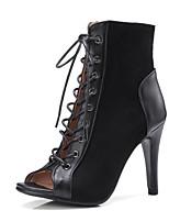 Недорогие -Жен. Fashion Boots Микроволокно Лето Ботинки На шпильке Закрытый мыс Ботинки Черный / Бежевый / Винный