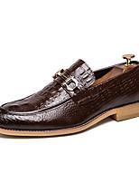 Недорогие -Муж. Кожаные ботинки Наппа Leather Весна лето / Наступила зима Мокасины и Свитер Черный / Коричневый