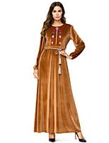 baratos -Mulheres Básico Abaya Vestido - Bordado, Floral Longo