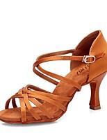 Недорогие -Жен. Обувь для латины Сатин Сандалии Кубинский каблук Персонализируемая Танцевальная обувь Черный / Верблюжий